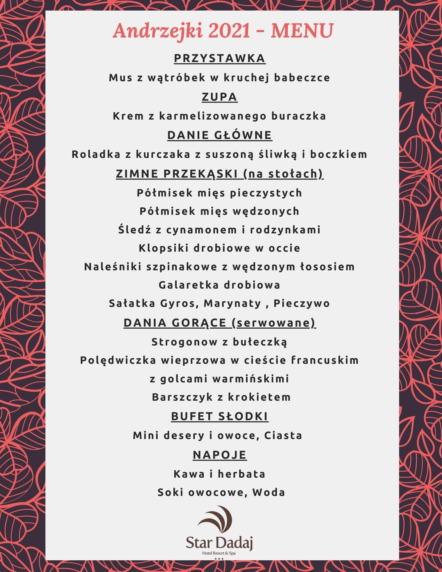 Menu Andrzejki